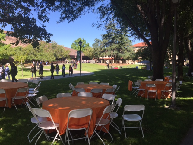 Lunch tables outside O'Connor Hall